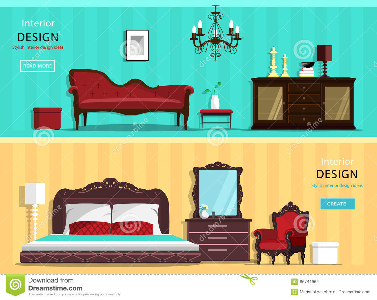 Set of vintage interior design house rooms with furniture for Drawing room bed design