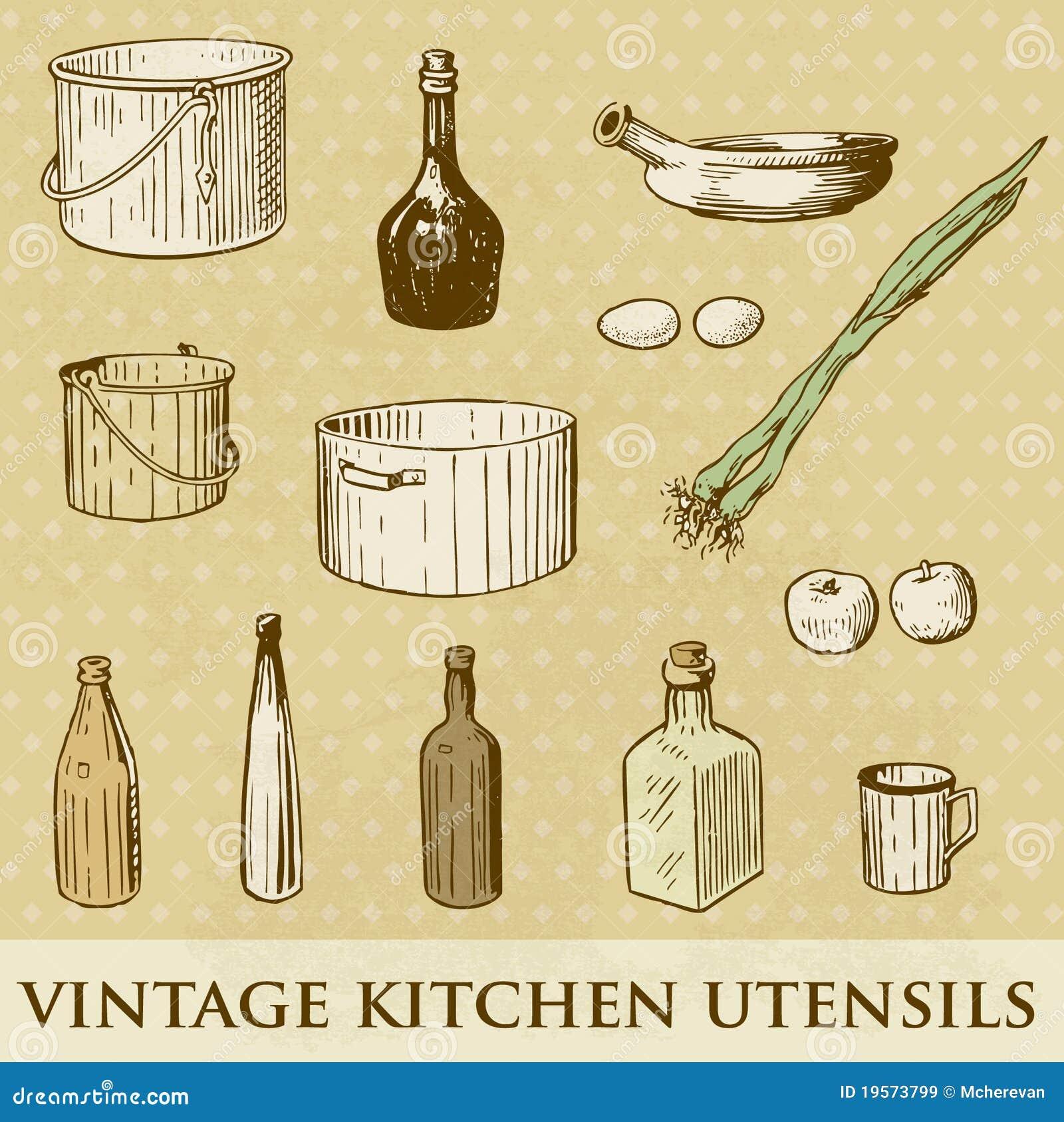 Dream Kitchen Utensils: Set Of Vintage Kitchen Utensils Royalty Free Stock Images
