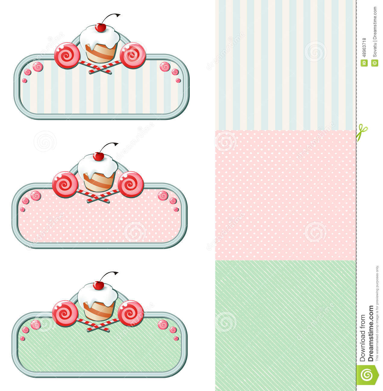 set of vintage labels with cupcake and candies stock photo