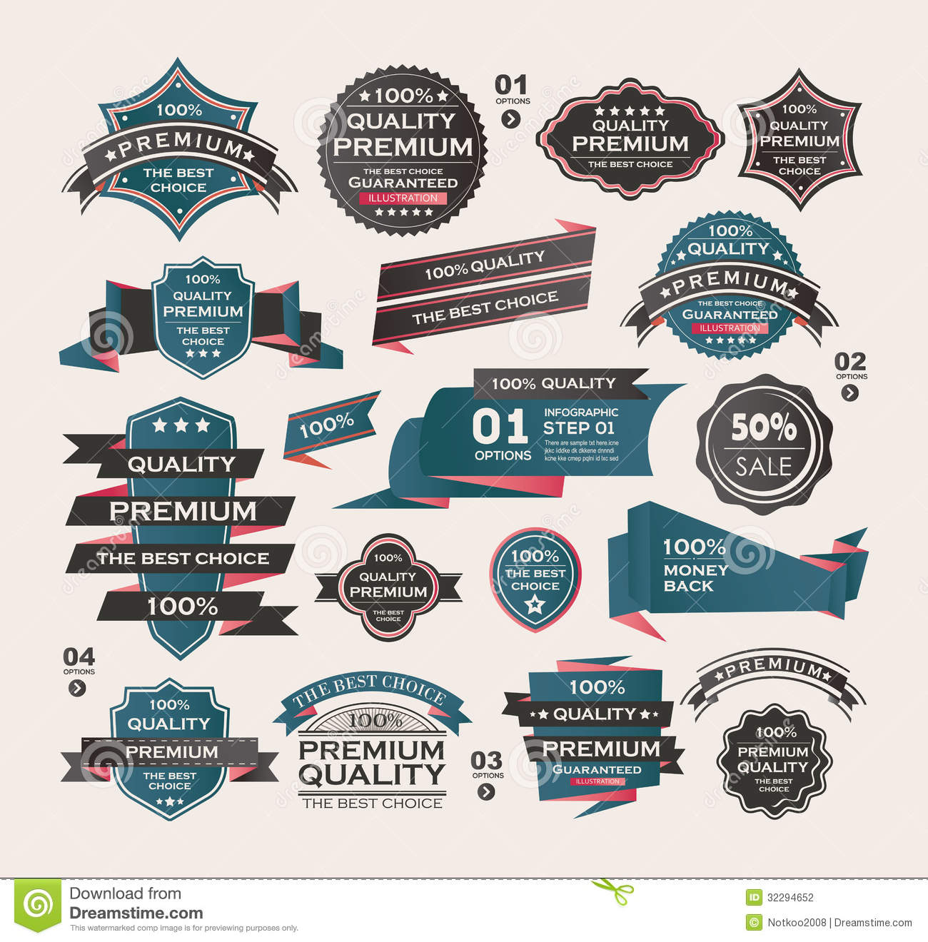 Set of vintage labels ribbon retro style desig stock vector image 32294652 - Retro stuhle gunstig ...
