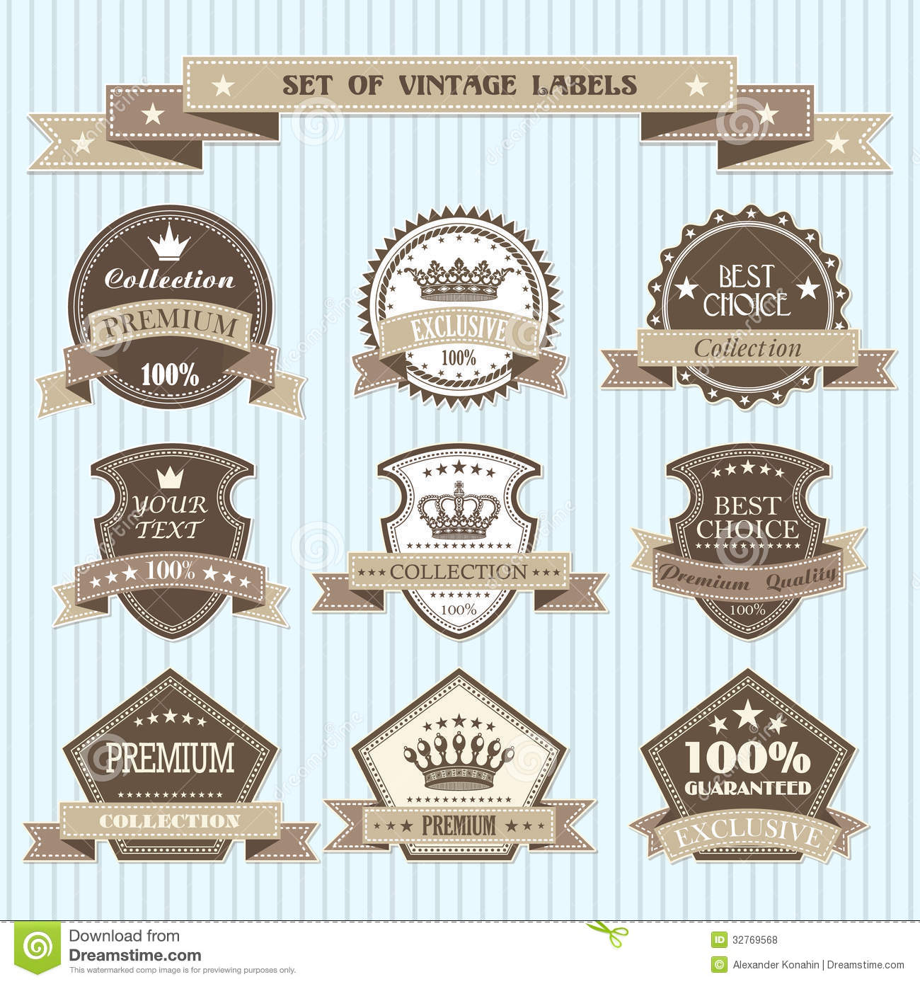 Set Of Vintage Labels Royalty Free Stock Photos - Image: 32769568
