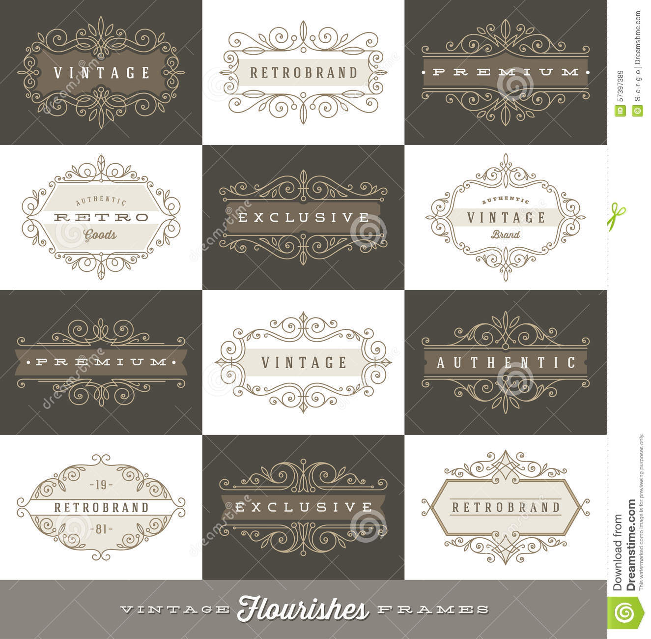 Set Of Vintage Logo Template With Flourishes Calligraphic Frames ...