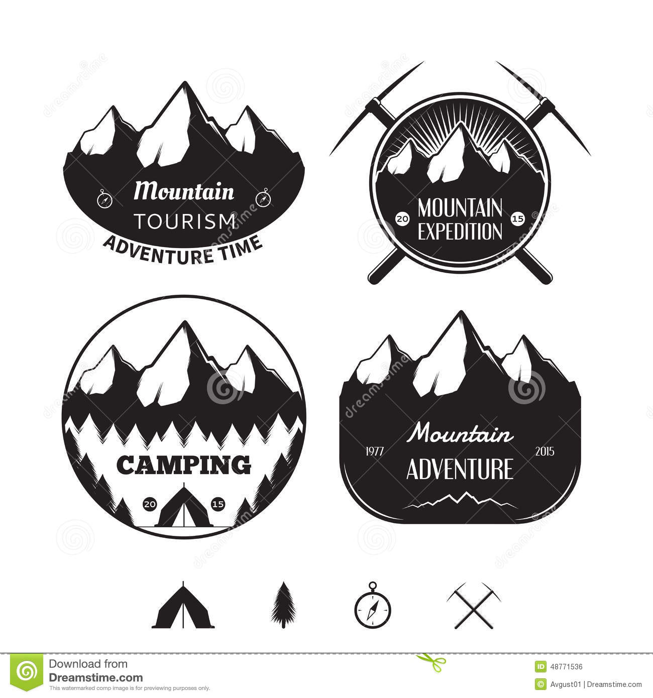 Set Of Vintage Logos And Badges On Theme Of Mountain