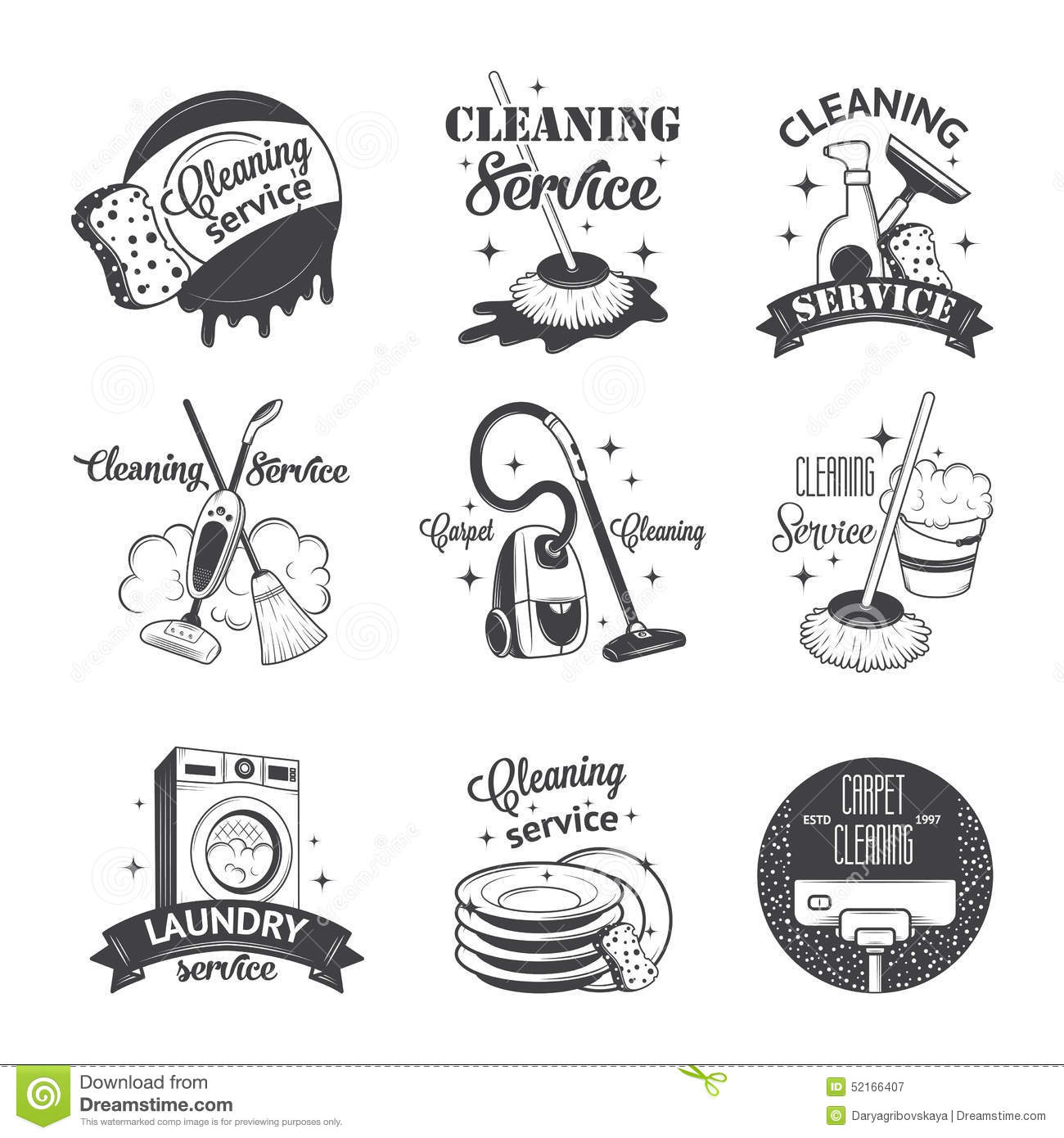 Vintage Style Home Decor Ideas Sydney Cleaning Services: Set Of Vintage Logos, Labels And Badges Cleaning Stock Vector