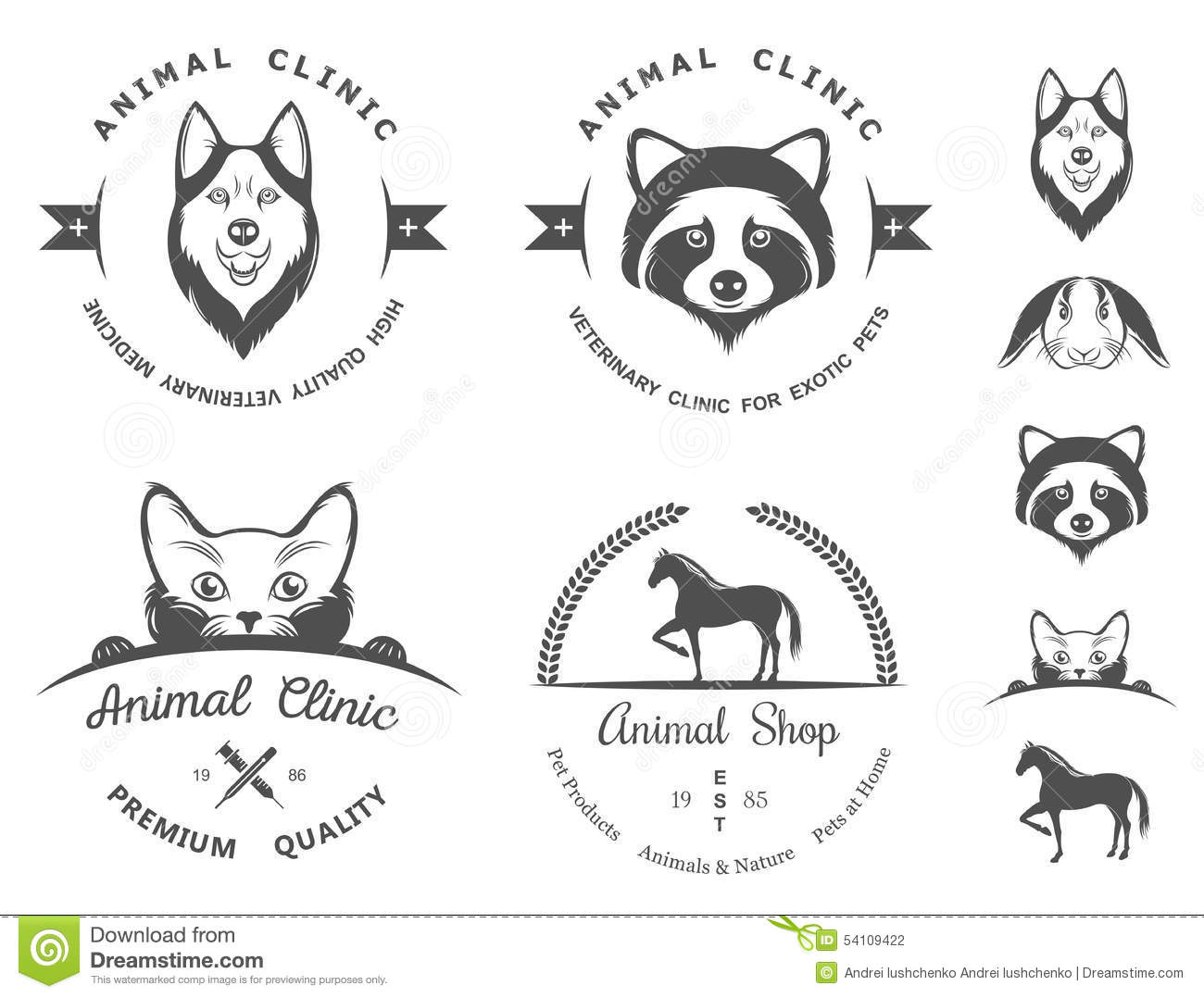 Set Of Vintage Logos For Vet Clinic Stock Illustration ... Raccoon With No Hair
