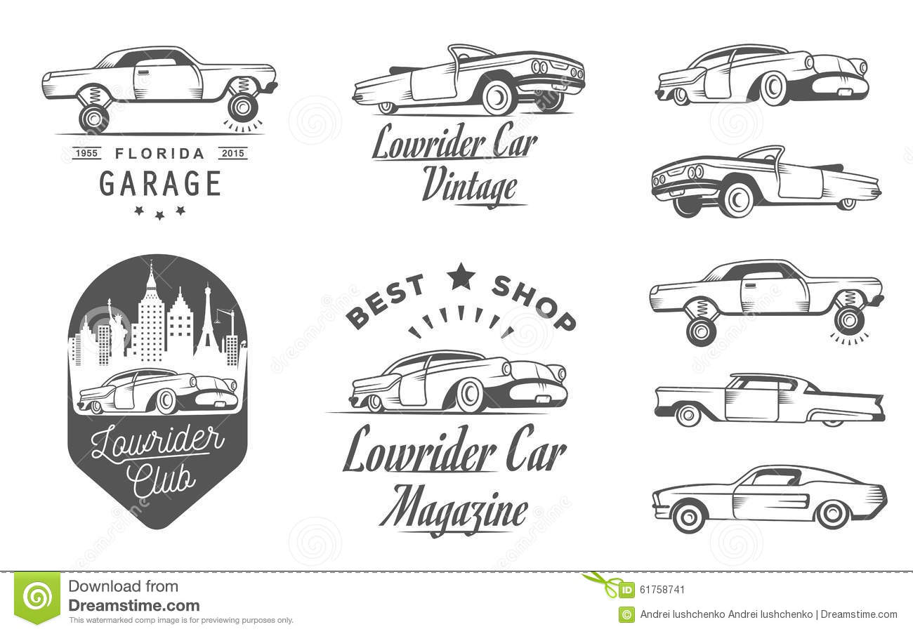 Set Vintage Lowrider Logo Badge And Sign Stock