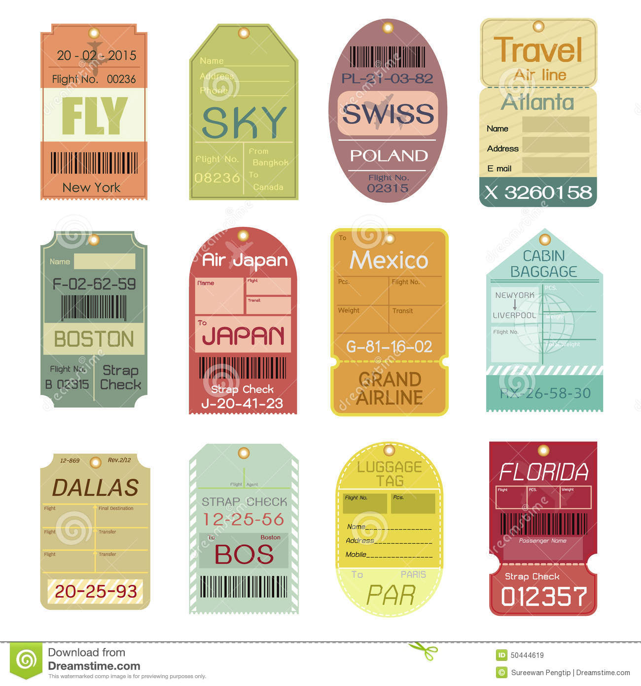 Set Of Vintage Luggage Tags Stock Vector Image 50444619