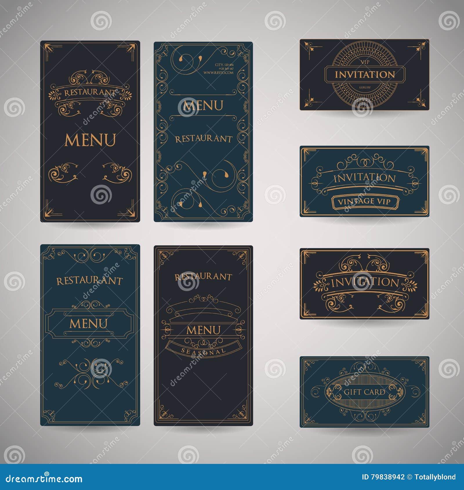 Set Of Vintage Luxury Greeting Restaurant Menu Design Template Stock ...