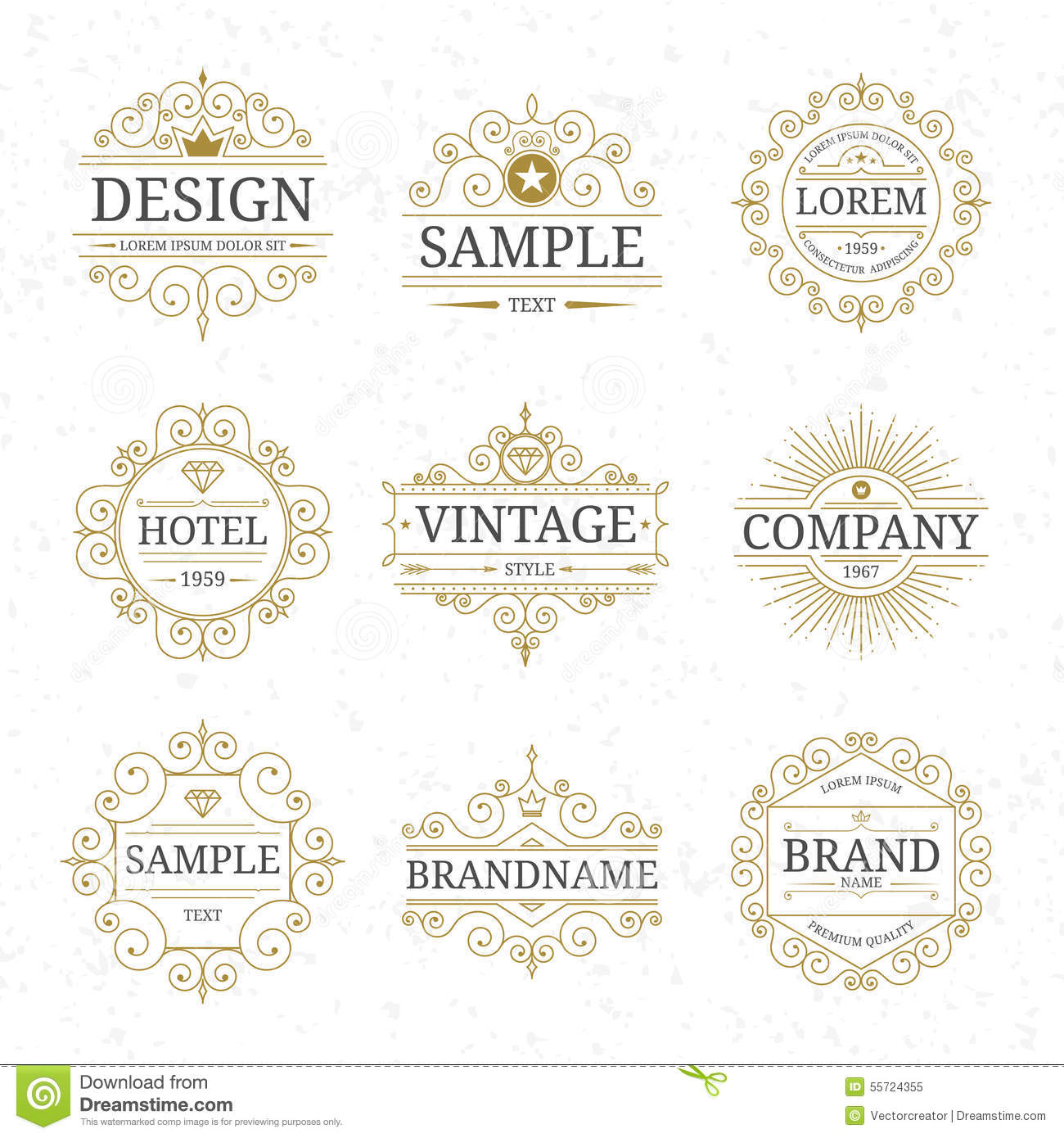 Set Of Vintage Luxury Logo Templates Stock Vector Image