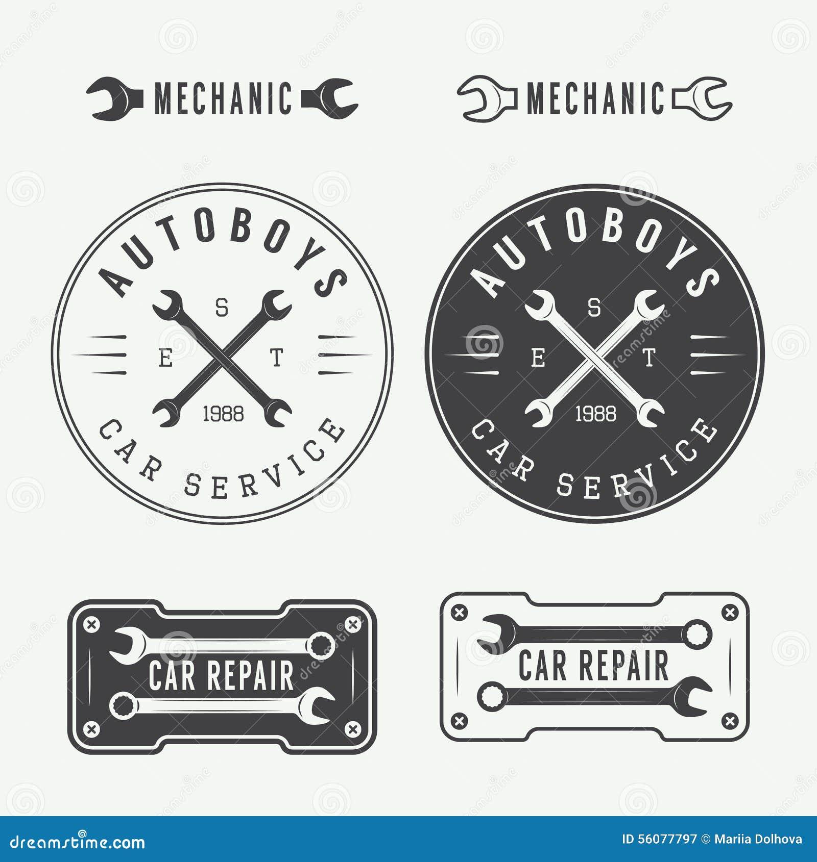 Tire Repair Kit >> Set Of Vintage Mechanic Labels, Emblems And Logo. Vector ...