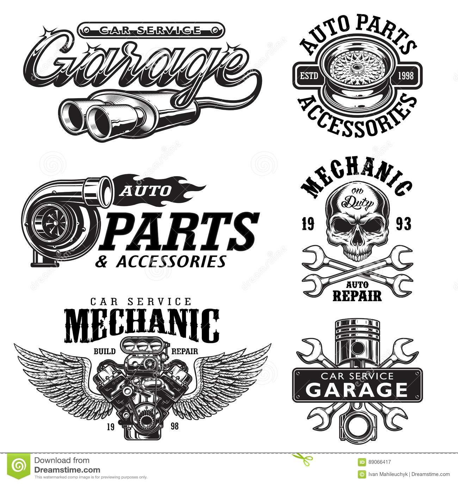 Set Of Vintage Monochrome Car Repair Emblems Stock Vector