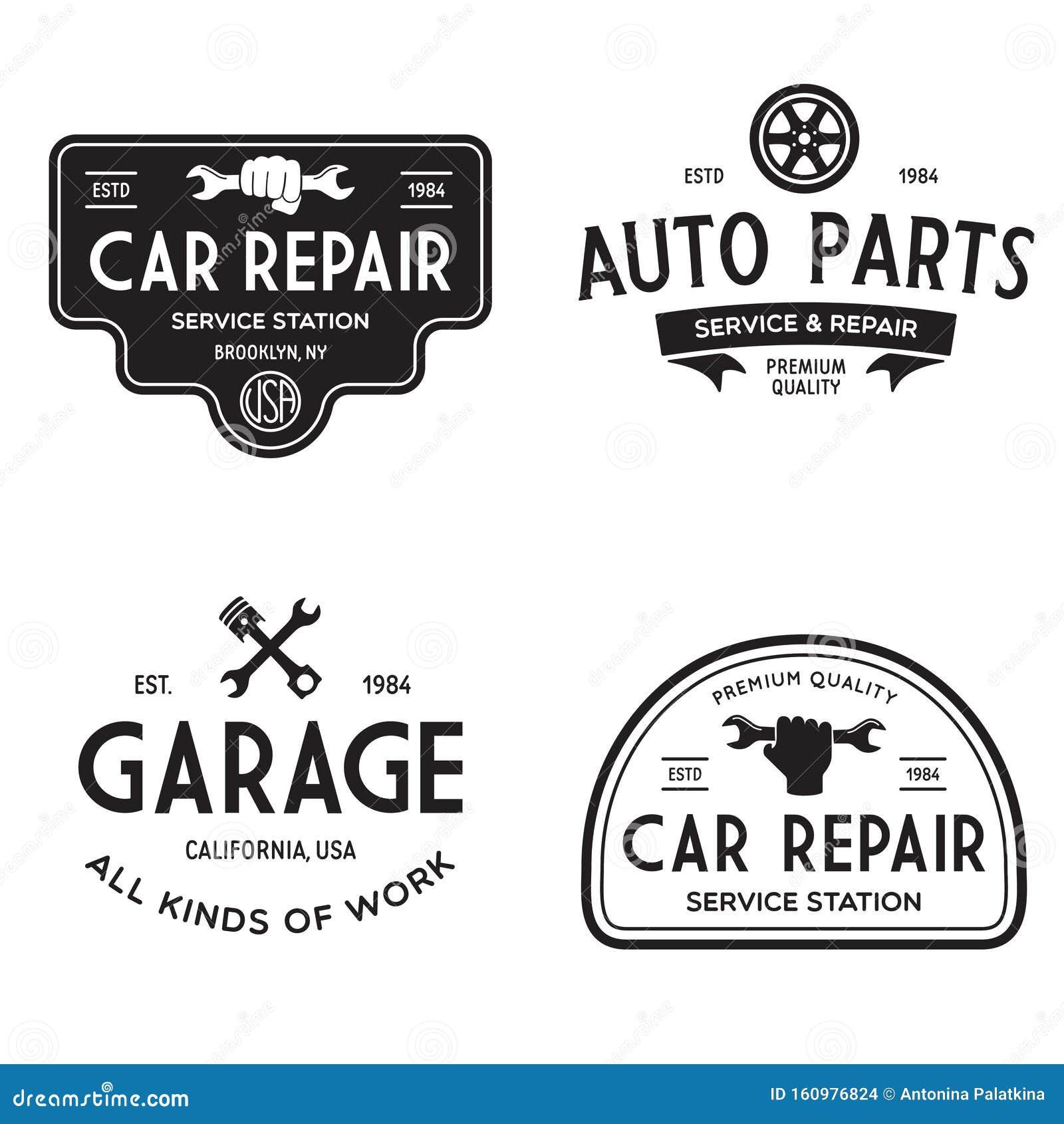Set Of Vintage Monochrome Car Repair Service Templates Of