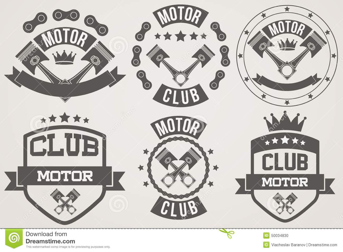 Set Of Vintage Motor Club Signs And Label Stock Vector