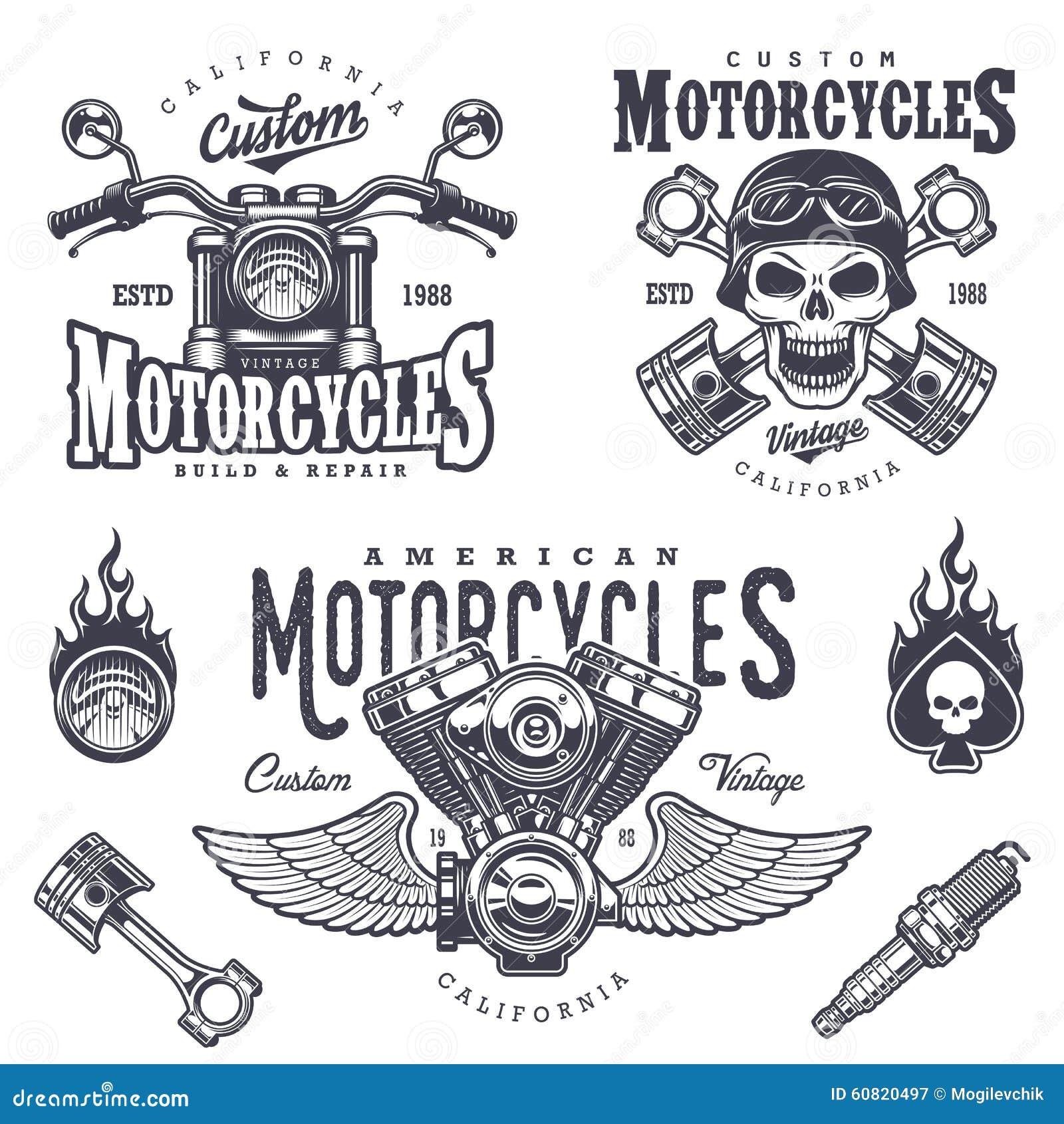 set of vintage motorcycle emblems stock illustration racing shirt vector Barrel Racing Vector
