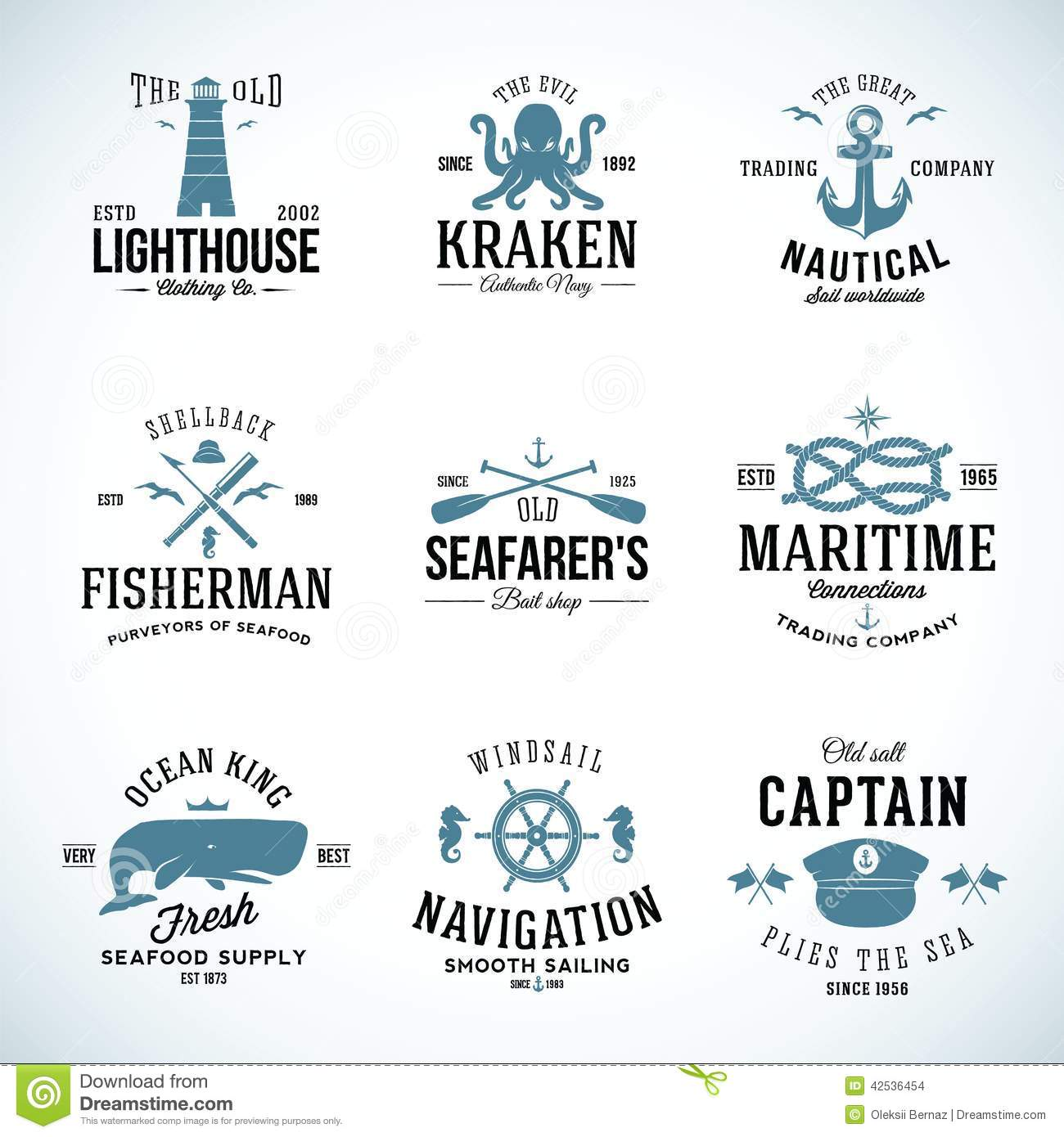 Set of Vintage Nautical Labels and Signs With
