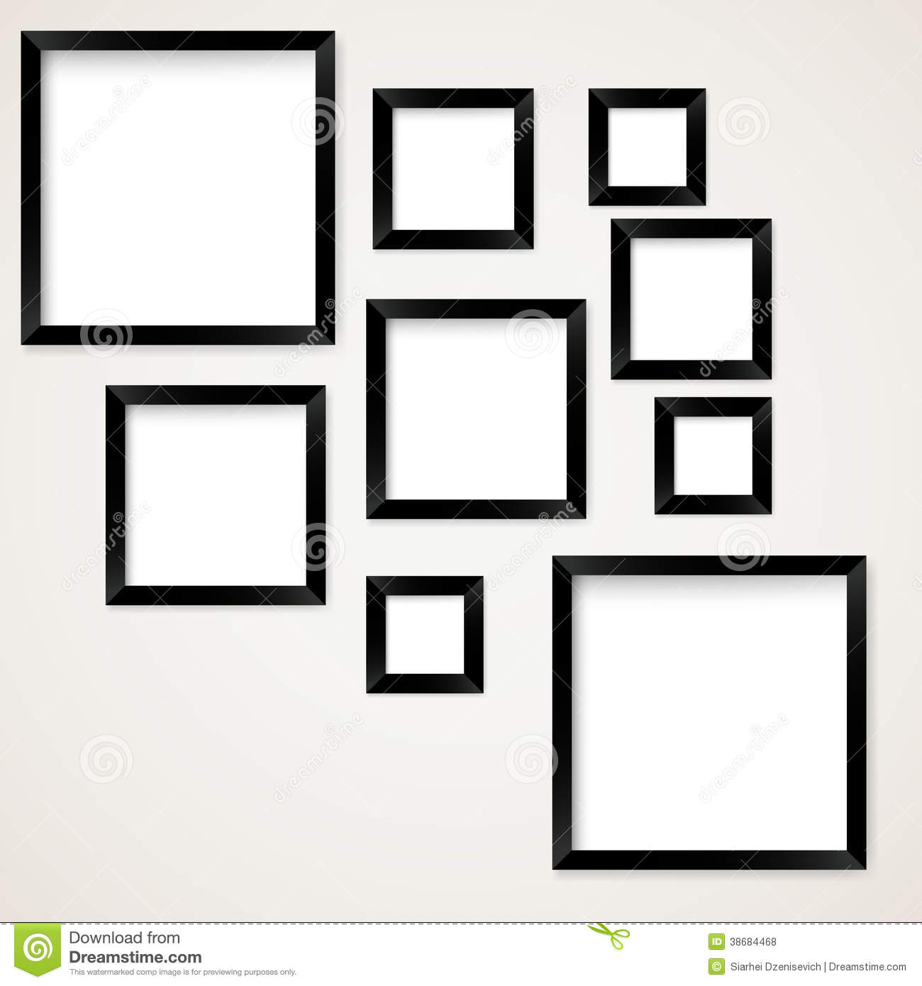 Set Of Vintage Picture Frames Hanging Stock Vector - Illustration of ...