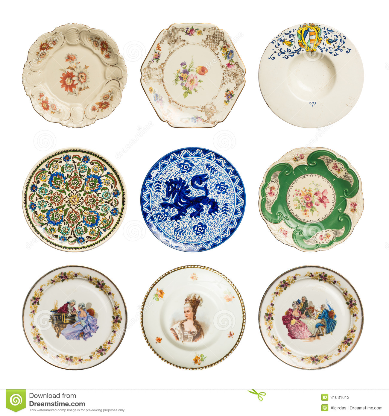 Set Of Vintage Plates Stock Image Image Of China