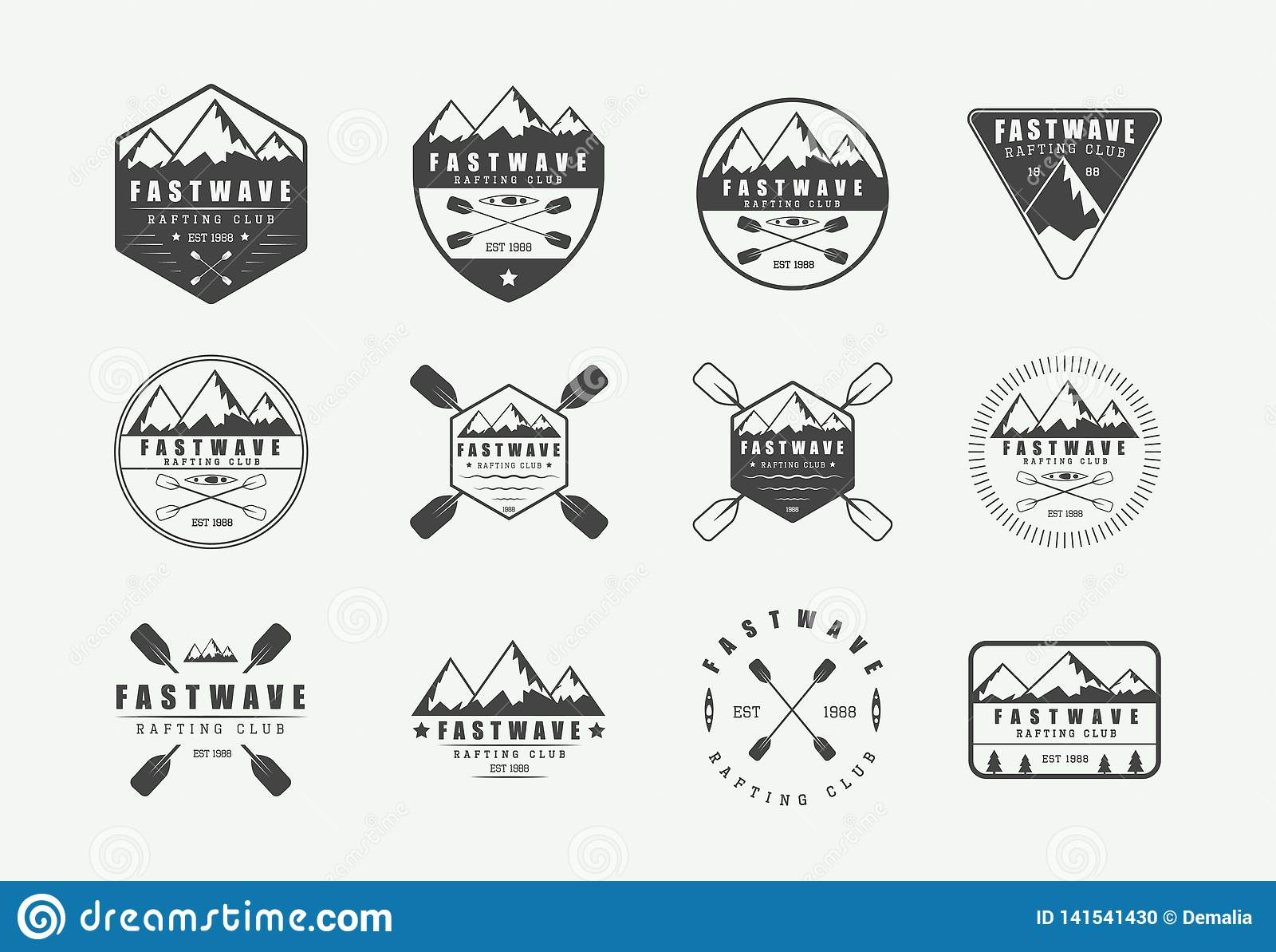 Set of vintage rafting logo, labels and badges. Graphic Art.