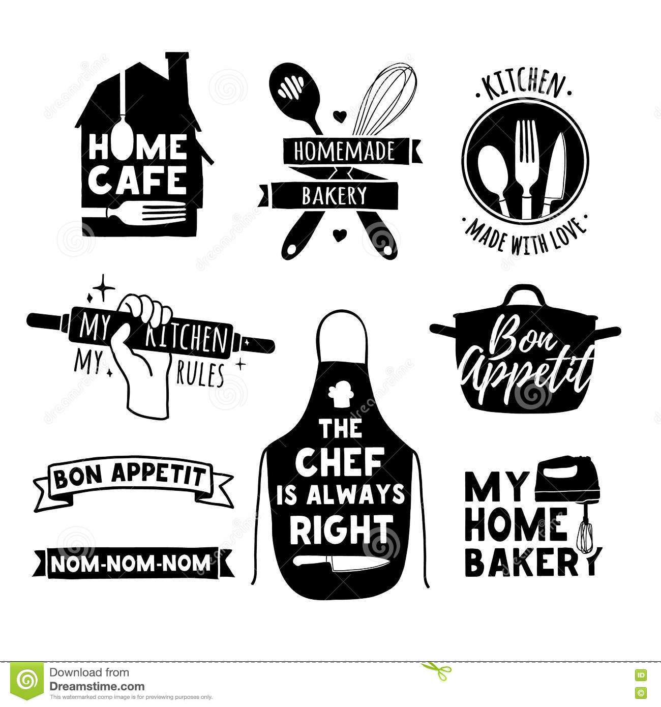 Home Kitchen Logo restaurant and home kitchen logo vector set design stock vector