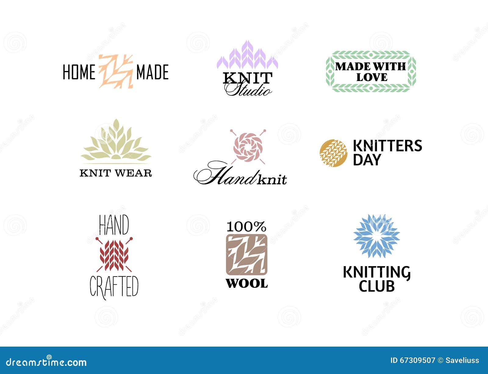 Knitting Club Logo : Set of vintage retro knitting badges stock vector image