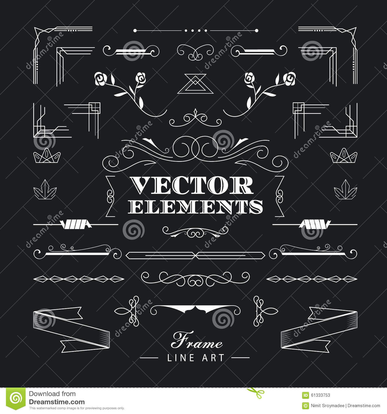 Set of vintage retro linear thin line art deco design for Deco 5 elements