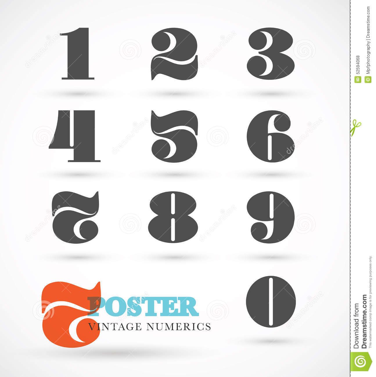 Set Of Vintage And Retro Numeric Font Numbers For Abstract Art Stock Vector