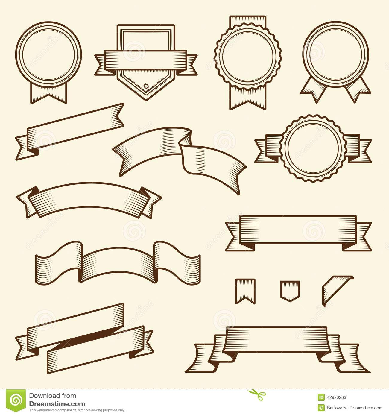 Line Art Design Vector : Set of vintage ribbons and labels isolated on white