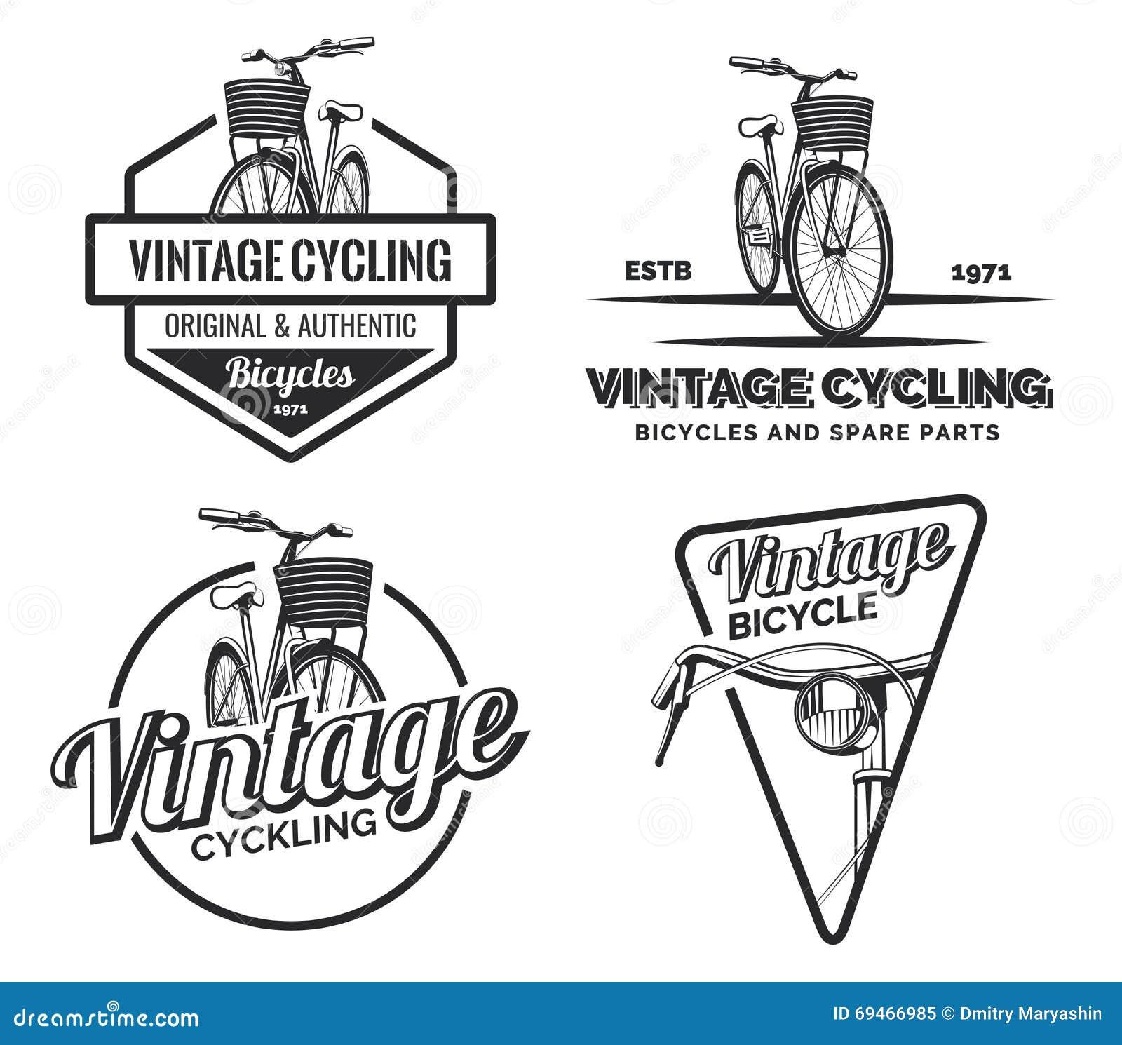 Set Of Vintage Road Bicycle Labels, Emblems, Badges Or Logos  Stock