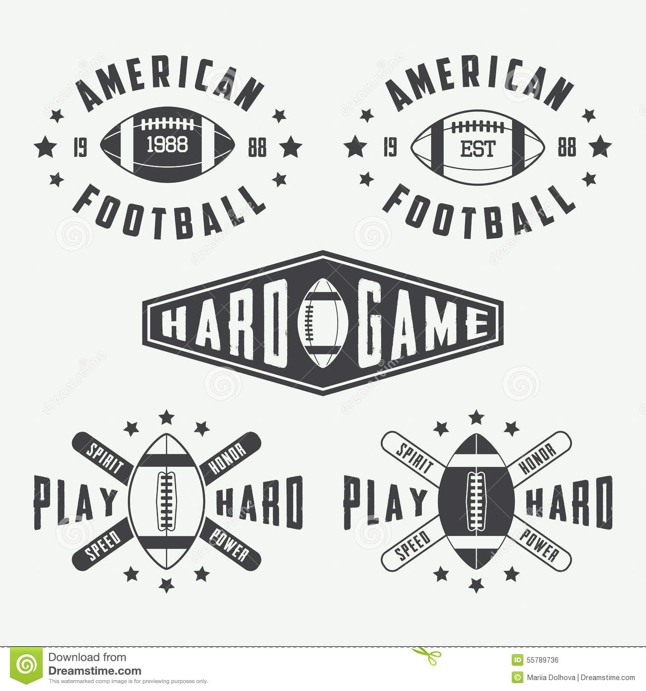 Set Of Vintage Rugby And American Football Labels , Emblems