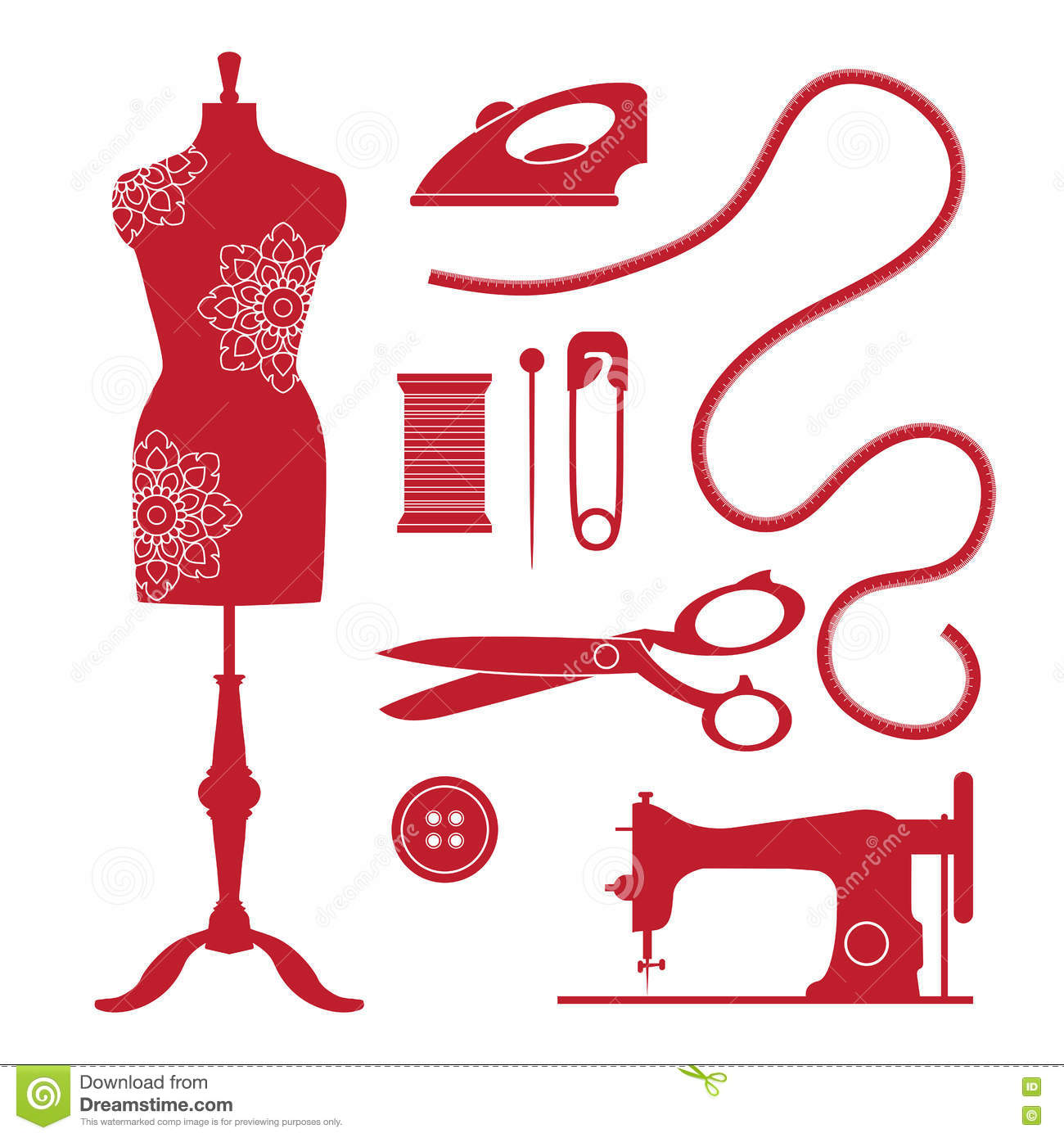 set vintage sewing elements emblems tailor shop old style logo silhouette 75321769 - Prices Of Asian Wedding Dresses