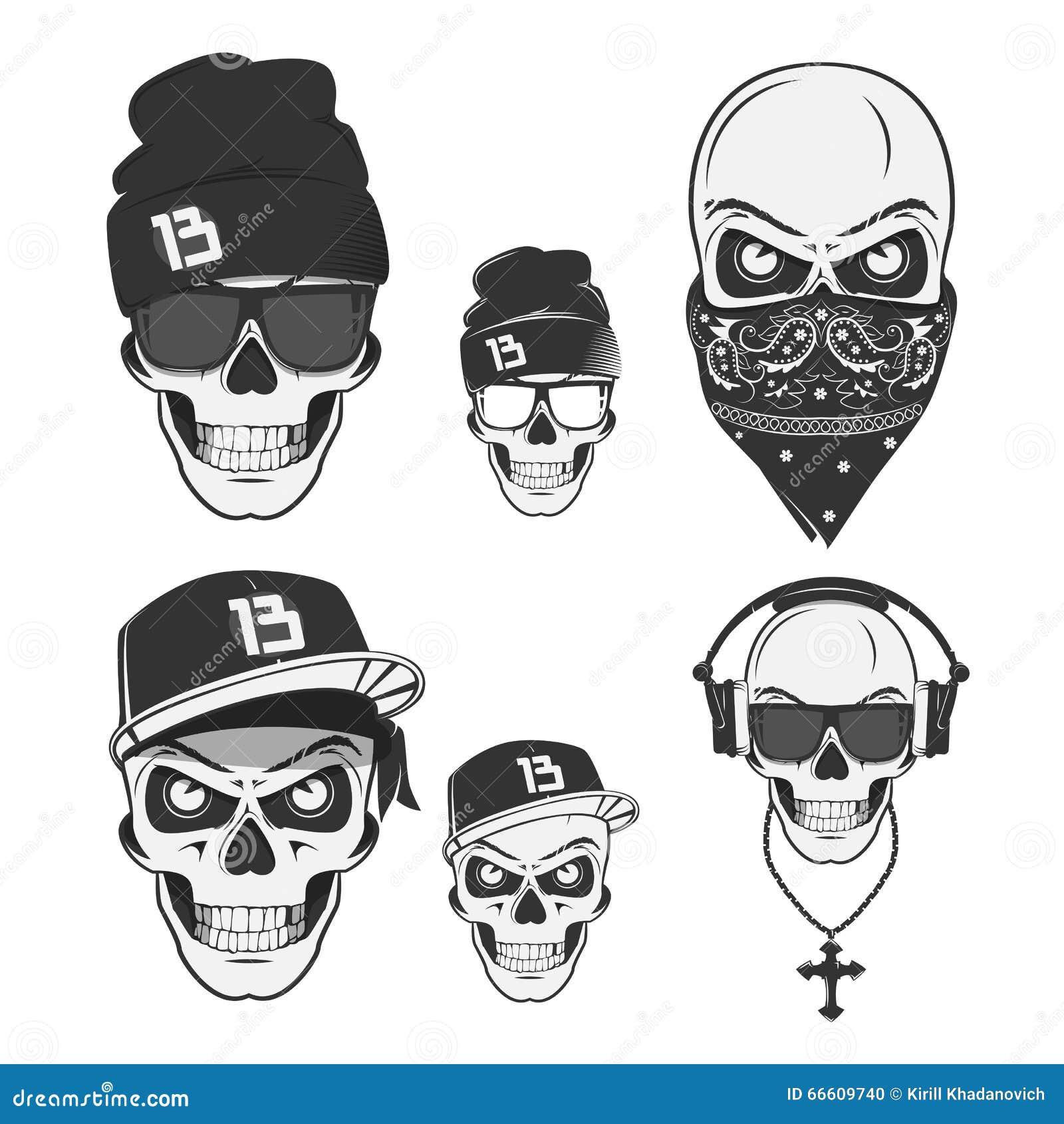 set of vintage skull rap elements emblems labels badges logos and design elements monochrome. Black Bedroom Furniture Sets. Home Design Ideas