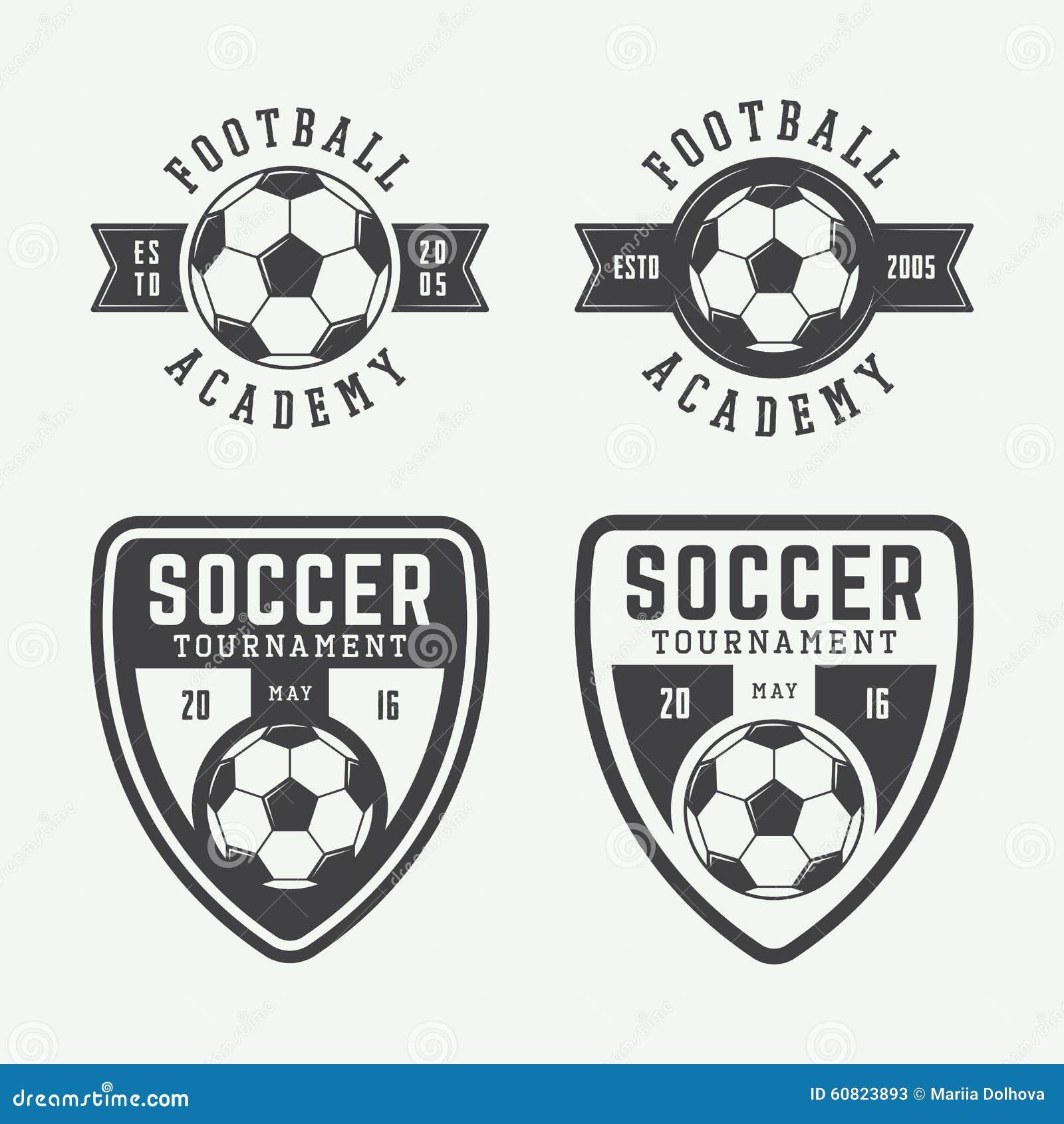 set of vintage soccer or football logo emblem badge