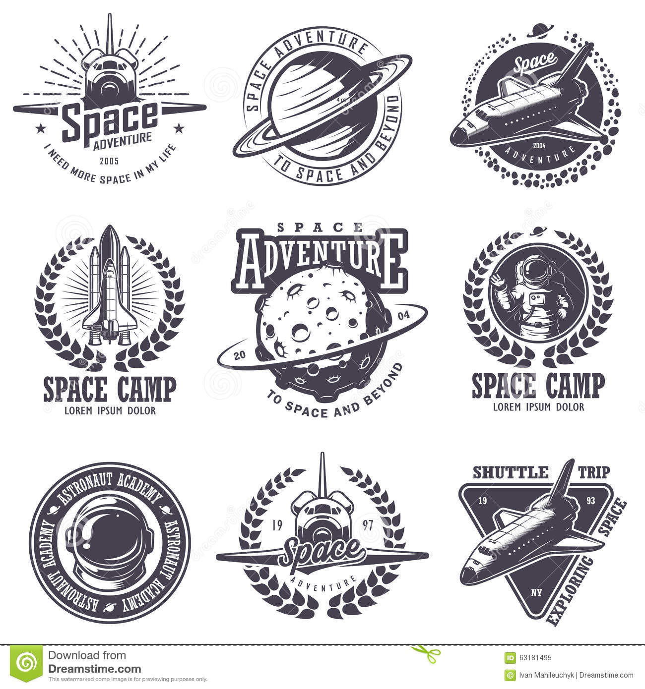 Set Of Vintage Space And Astronaut Badges Stock Vector ...