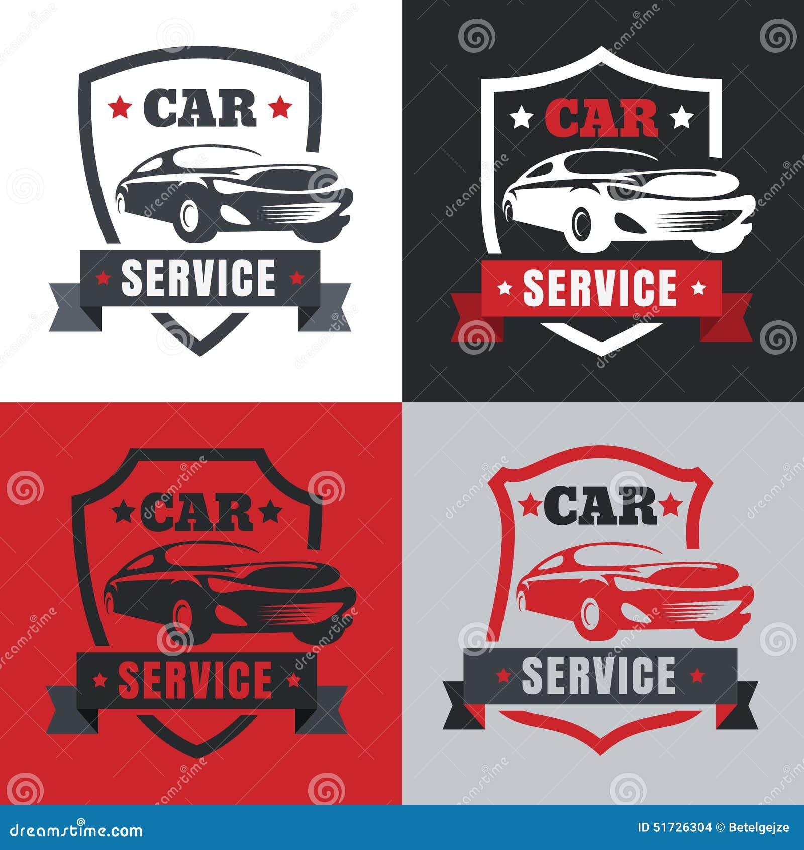 Set Of Vintage Style Car Service Label. Vector Logo Design