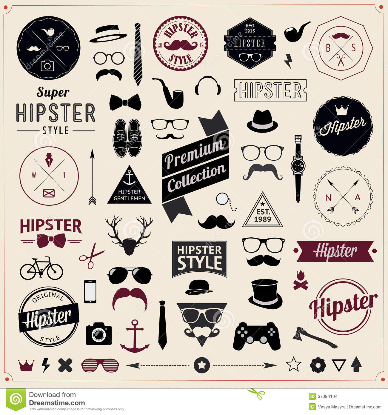 Set Of Vintage Styled Design Hipster Icons. Vector Stock ...