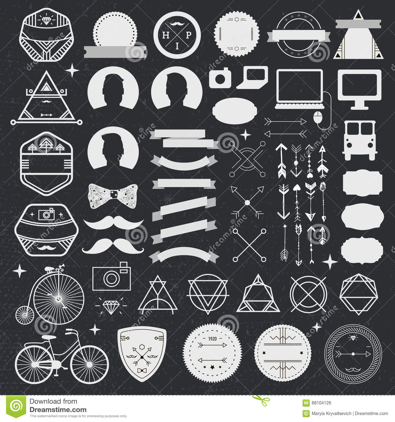 Set of vintage styled design hipster icons. Vector signs and symbols templates for design. phone, gadgets, arrows
