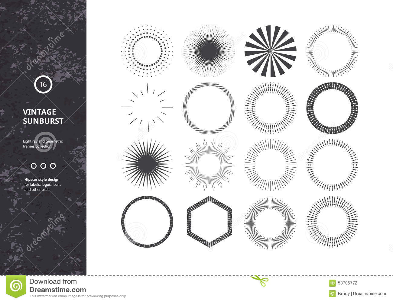 Set Of Sunburst Design Elements For Badges, Logos And Labels ... for Vector Light Rays Vintage  585eri