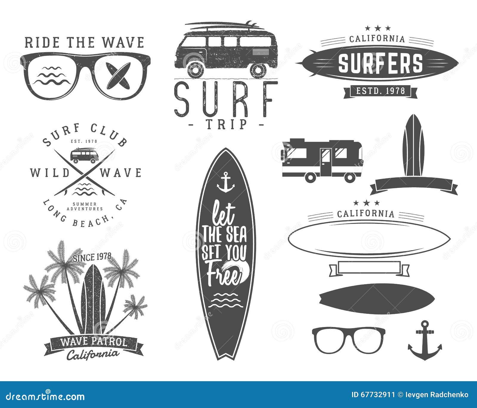 Set of Vintage Surfing Graphics and Emblems for web design or print. Surfer, beach style logo design. Surf Badge