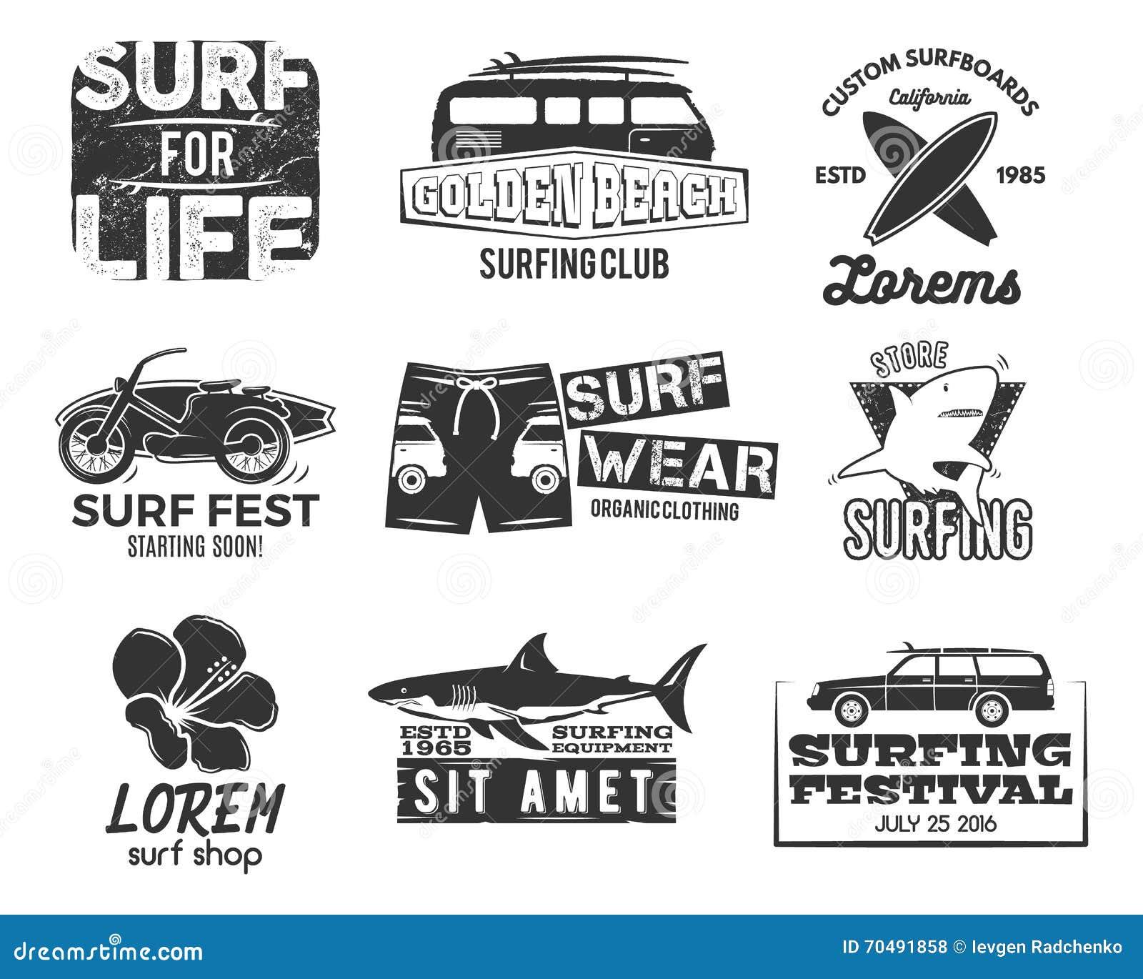 Set Of Vintage Surfing Graphics And Emblems For Web Design Or Print Surfer Beach Style Logo Surf Badge