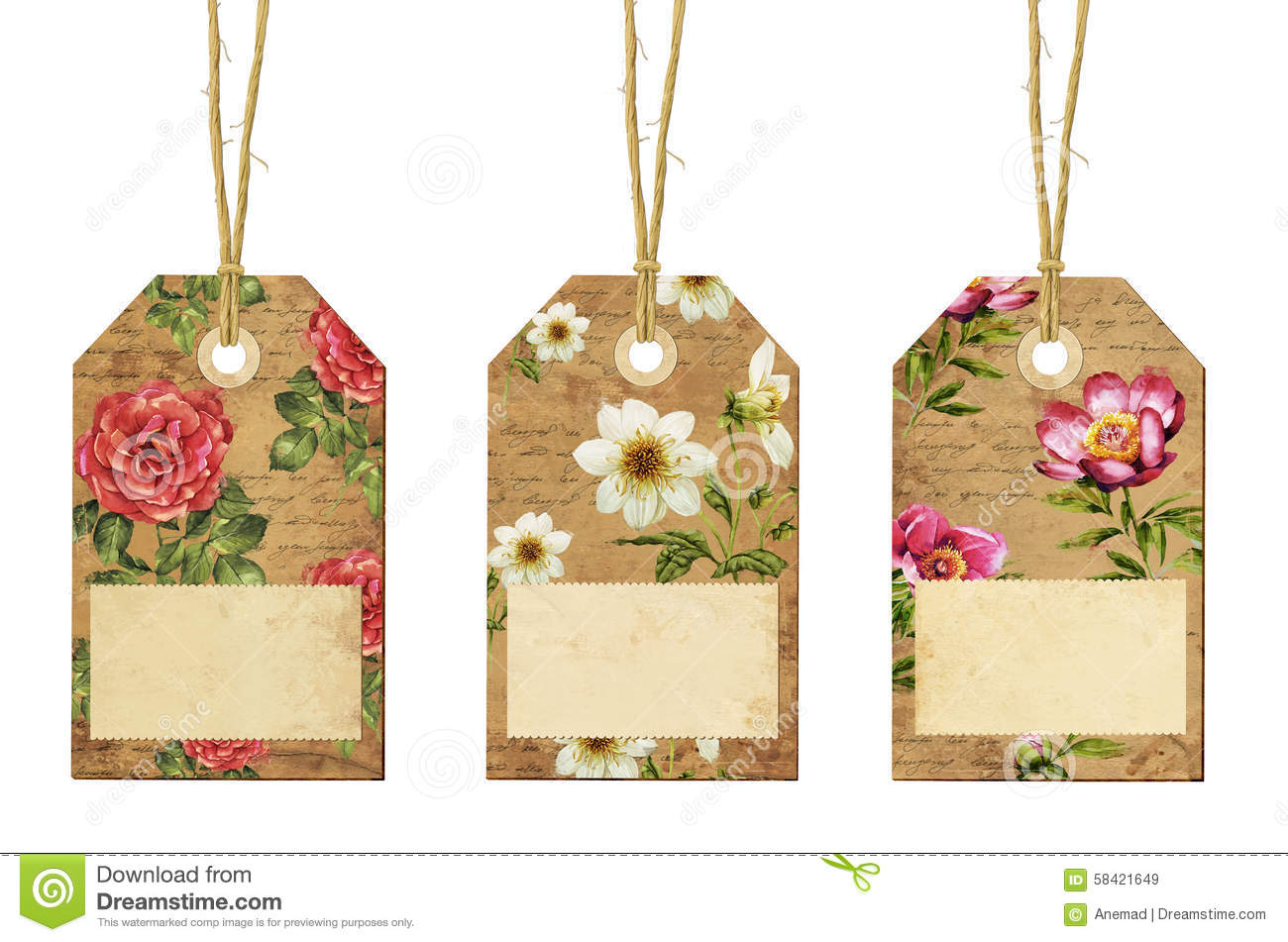 Set Of Vintage Tags With Flowers Stock Photo Image 58421649