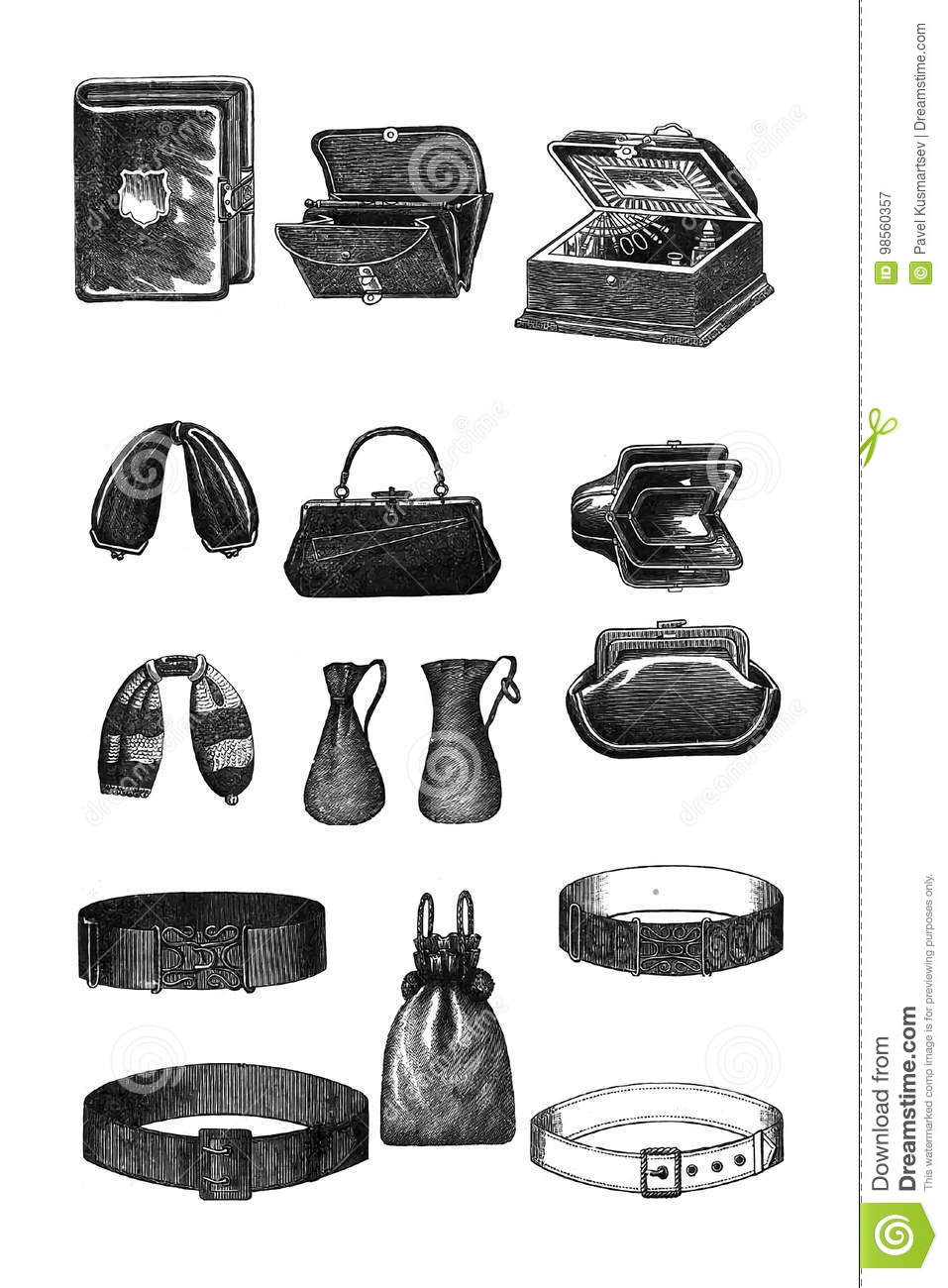 99f4a0bc Set of vintage things. stock illustration. Illustration of clutch ...