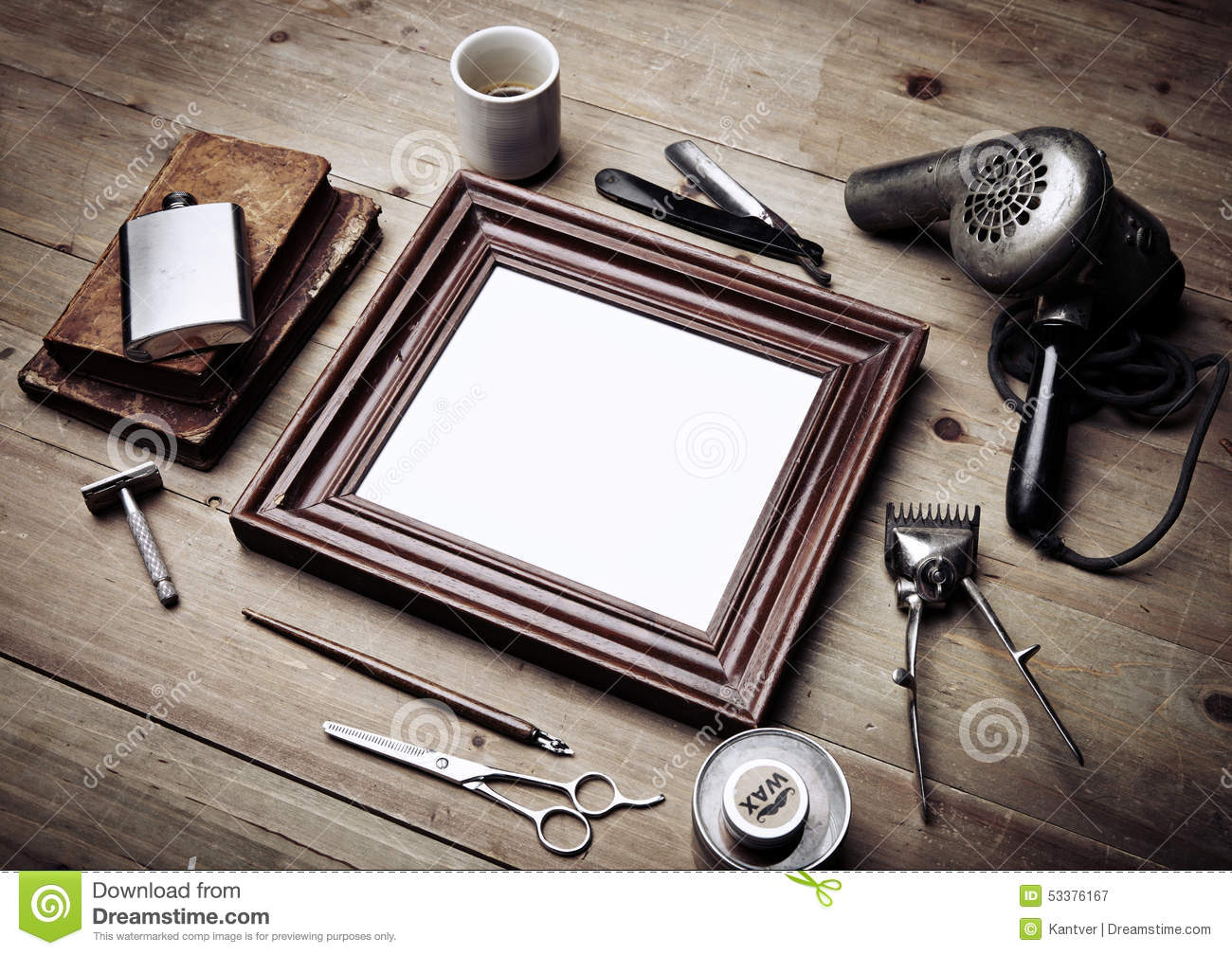 set of vintage tools of barber shop and black picture frame stock photo