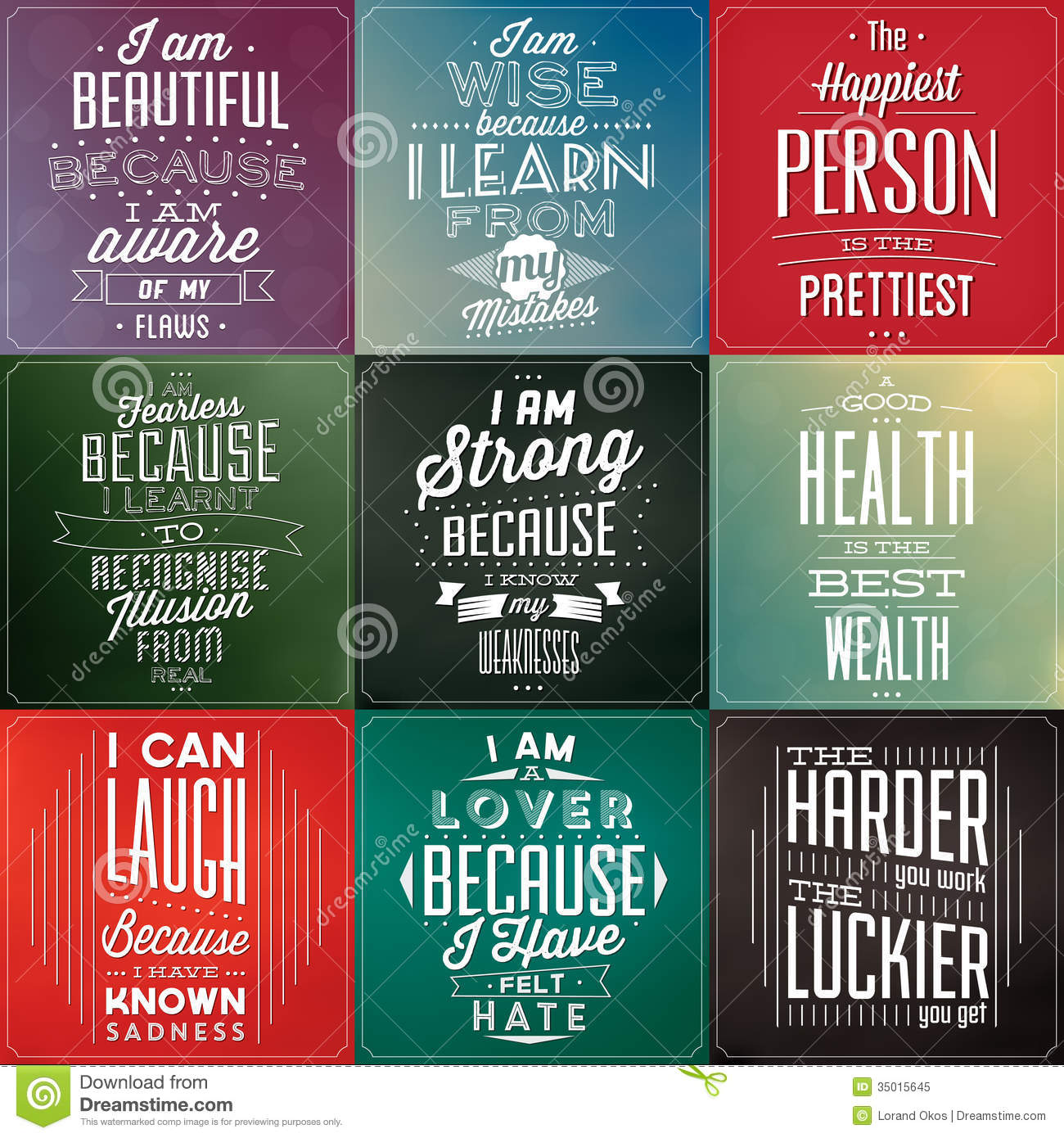 Set Of Vintage Typographic Backgrounds Motivational Quotes Decor Love