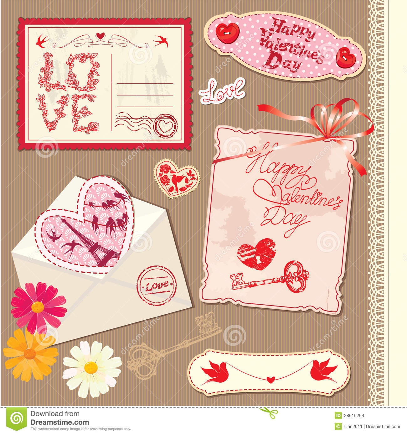 set of vintage valentines day postcards stock vector - image: 28616264, Ideas