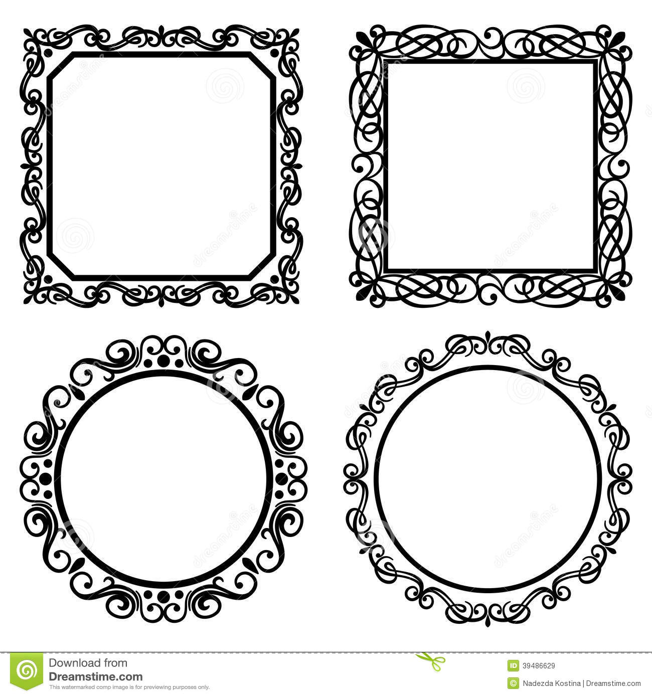 Set Of Vintage Vector Frames Borders Stock Vector ...