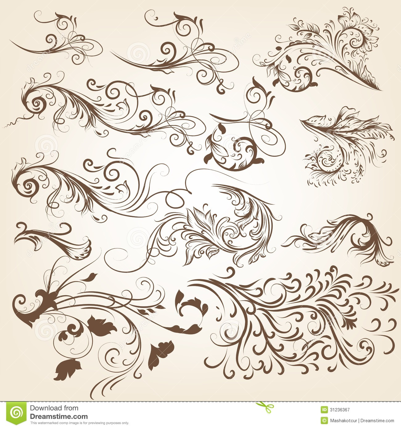 Frame design for wedding invitation vector border in victorian style - Set Of Vintage Vector Swirl Ornaments For Design Royalty