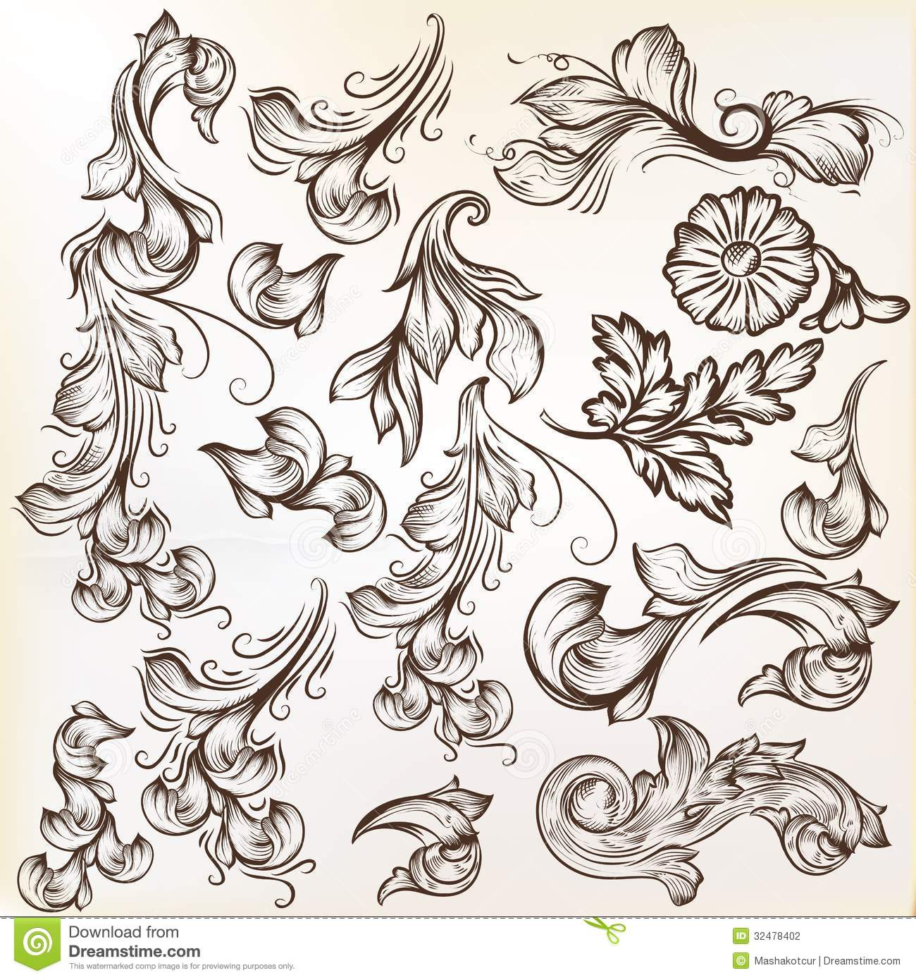 Set Of Vintage Vector Swirls For Design Stock Photography ...