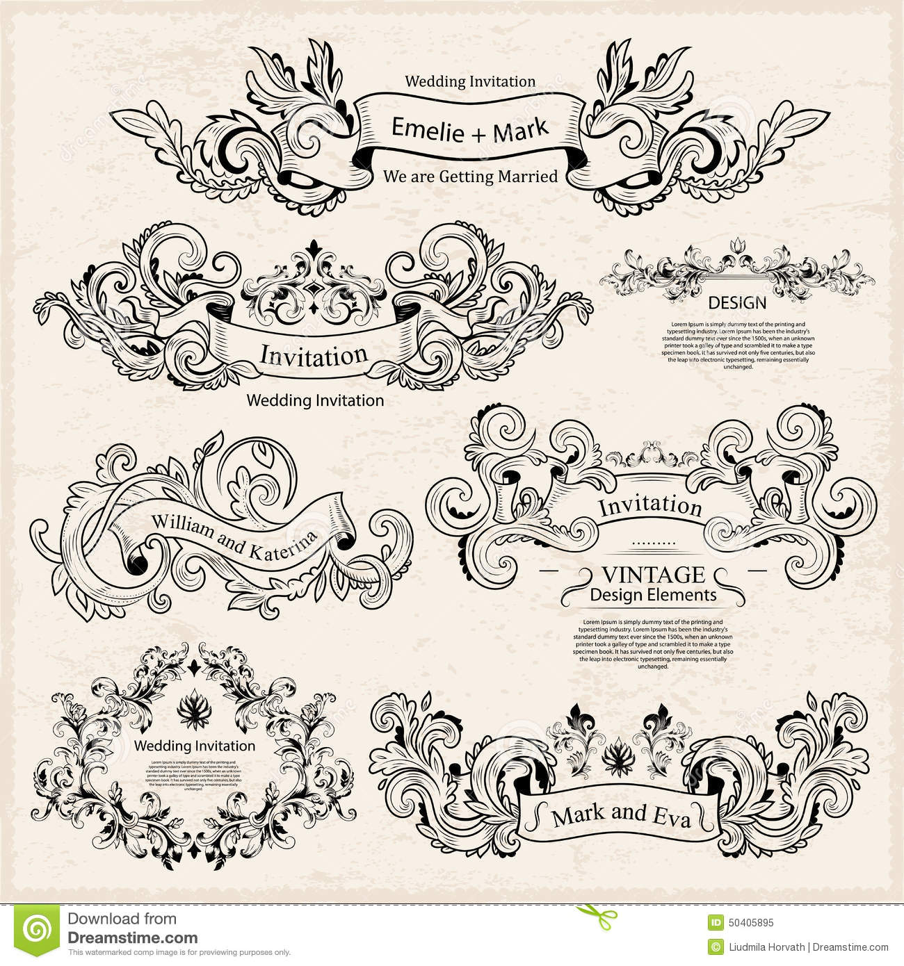 Set of vintage victorian ornaments wedding design stock for Wedding ornaments