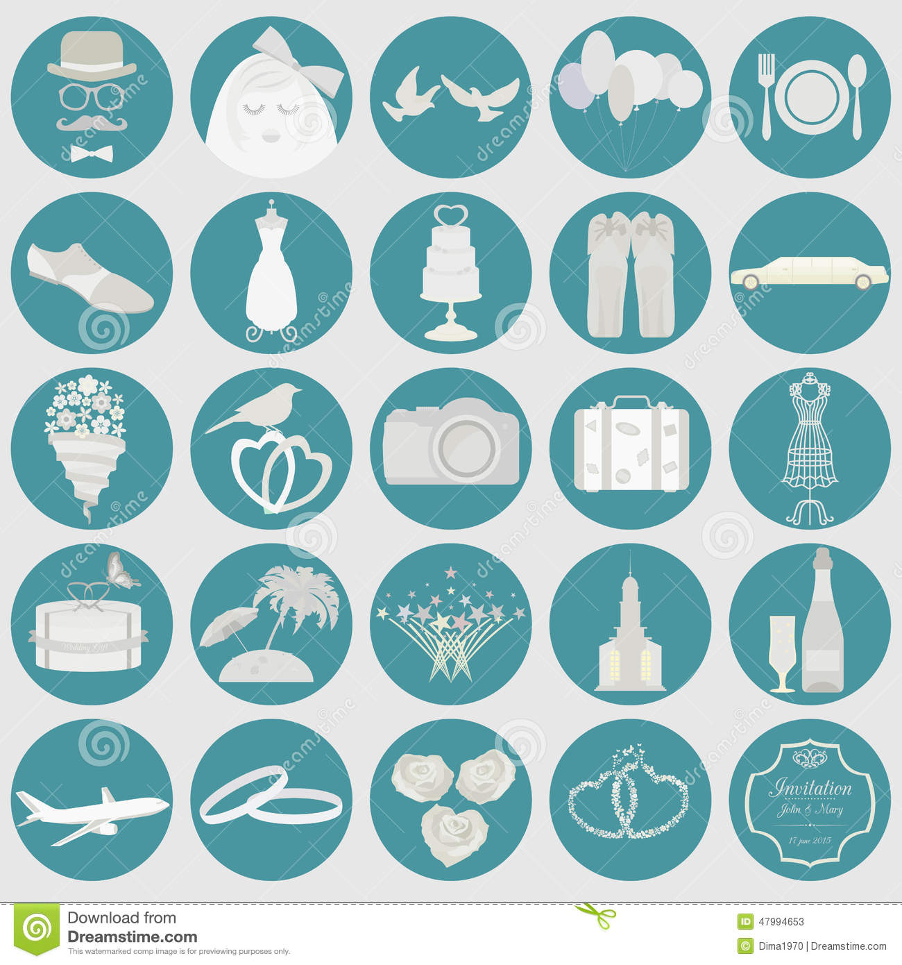 Set Of Vintage Wedding Fashion Style And Travel Elements Icons Stock Vector Illustration
