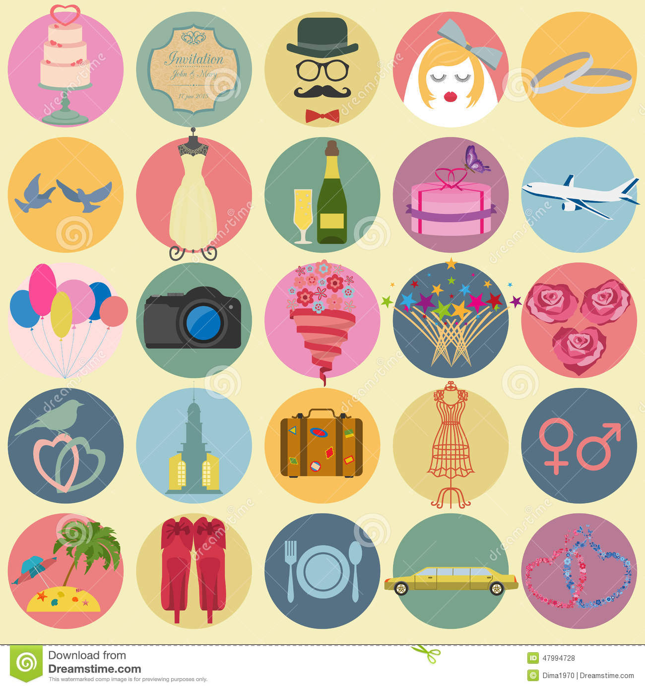 Set Of Vintage Wedding Fashion Style And Travel Elements Icons Stock Vector Image 47994728